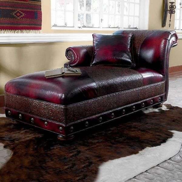 Black Cherry Chaise With Tooled Leather Trim Perfect Statement Piece For An Elegant Western Home Ranch DecorWestern StyleTooled