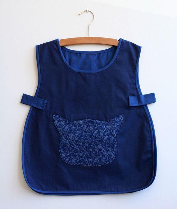 Tablier/Blouse écolier ou activités en coton bleu marine