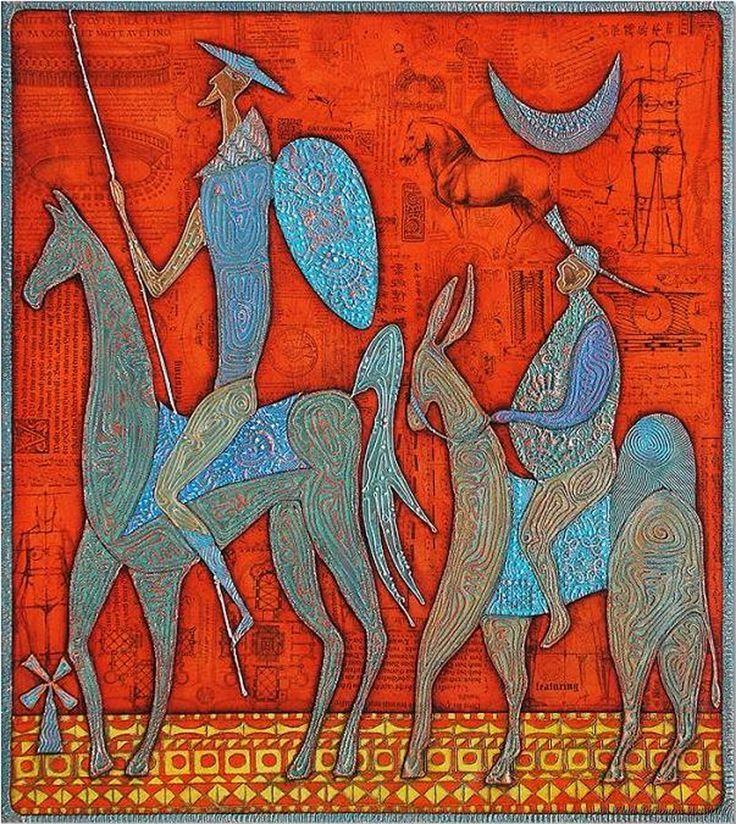 Don Quixote und Sancho Pansa von Wlad Safronow. (Oil on Canvas)