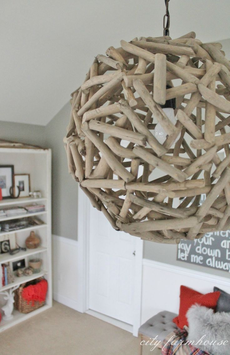 Rustic Master Retreat- Driftwood Chandlier from Cost Plus World Market