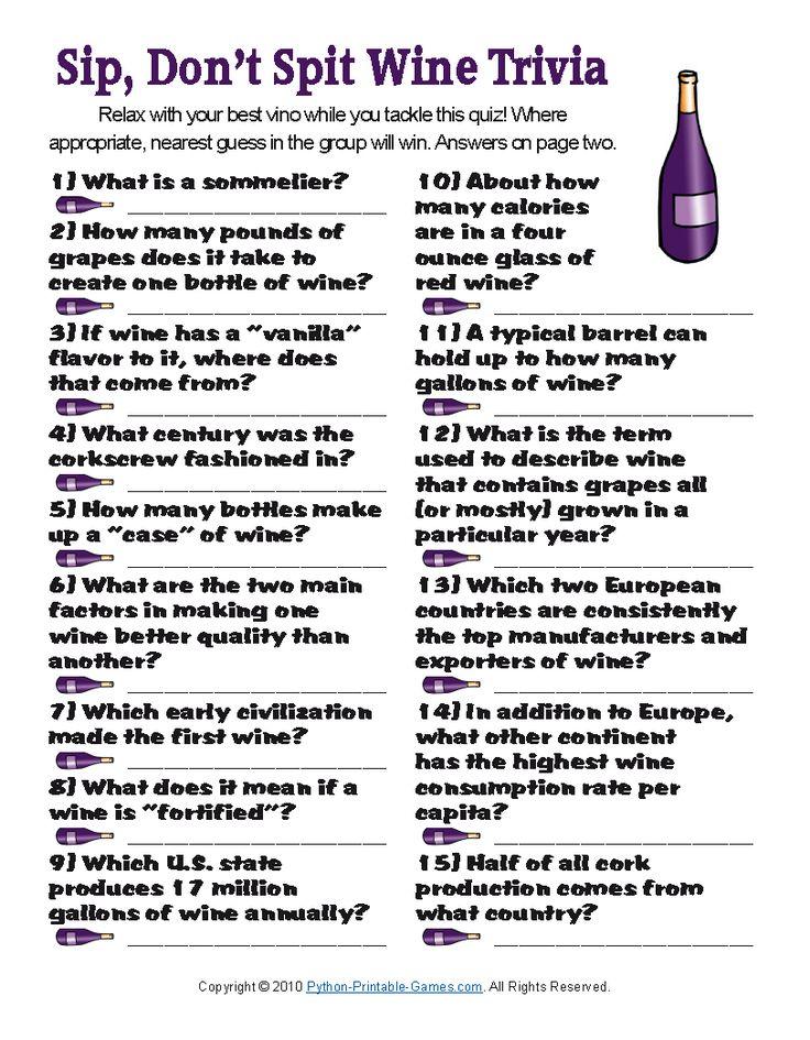 Sip don't spit wine trivia