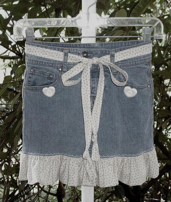 Upcycled Arizona Jeans Denim Girls Skirt Size 7 Slim Ruffled with Matching Tie Belt Recycled Blue Jeans Boho Rockabilly Fashion Casual. $15.00, via Etsy.