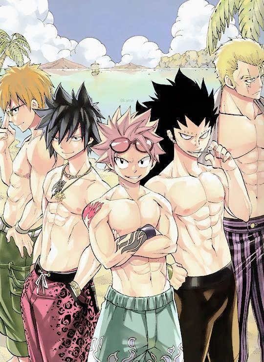 Fairy Tail Boys: Natsu Dragoneel, Gray Fullbuster, Gajeel Redfox, Loke, Laxus Dreyer
