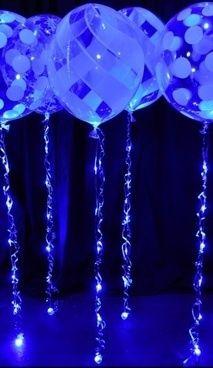 Balões azuis.