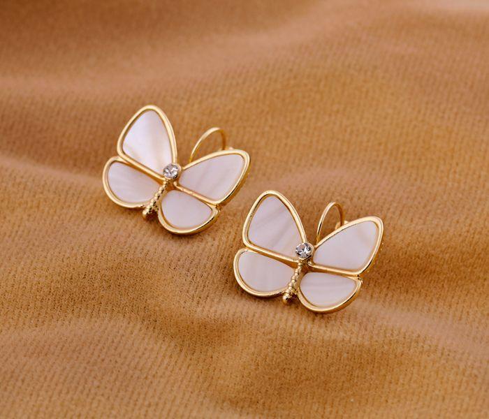 Feminine Shell Gold Plated Stud Earrings