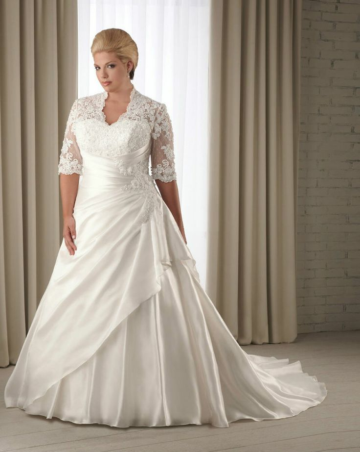 Lace Sleeves A Line Wedding Dress Bridal Gown Custom Plus Size 16 18 20 22 24
