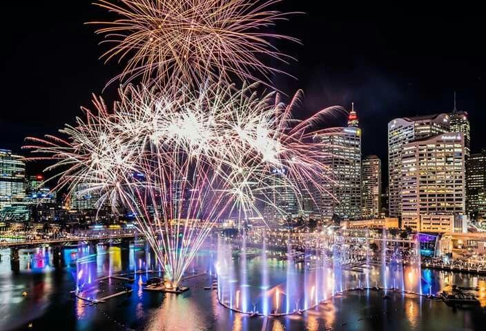 Laser shows, lights, fireworks... Darling (Harbour), you were spectacular. Darling Harbour, Sydney #VividSydney