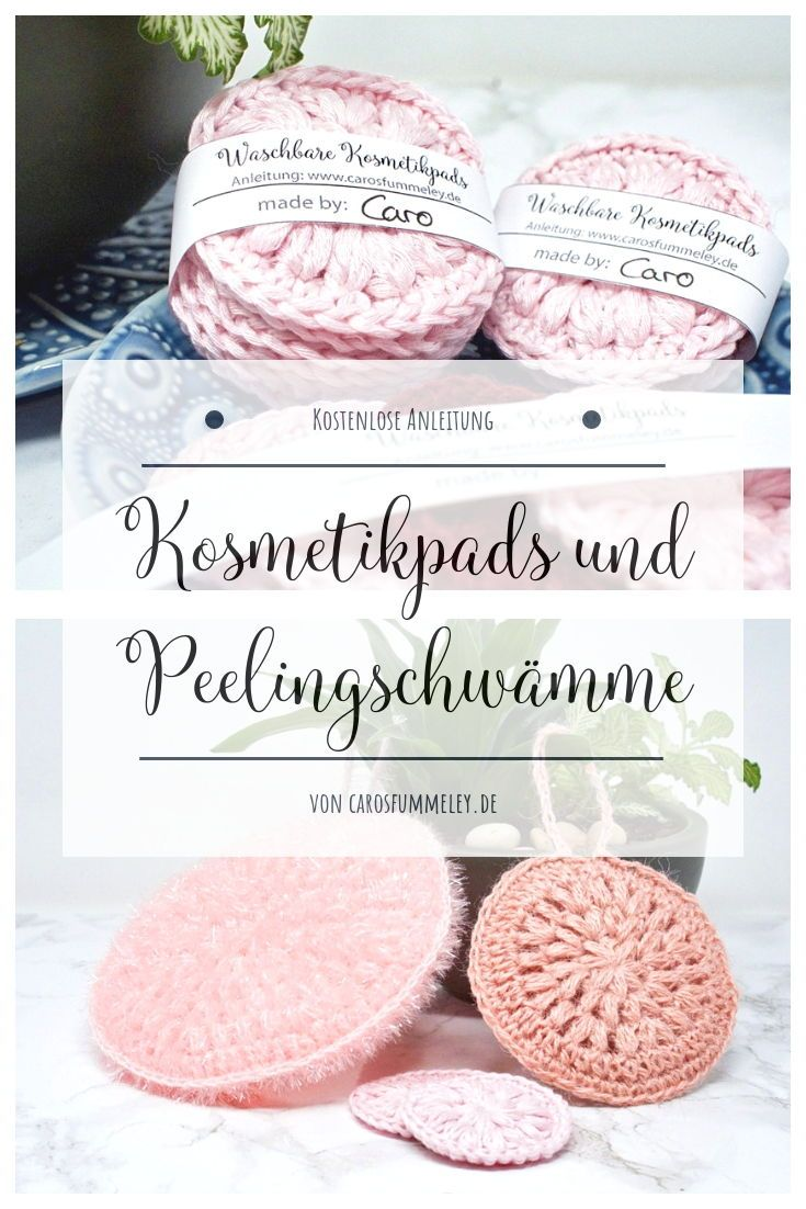 Crochet cosmetic pads – Free instructions and banderole for printing