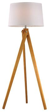 Dimond Lighting D2469 Wooden Tripod 1 Light Floor Lamps in Natural Wood Tone - transitional - Floor Lamps - Lighting New York