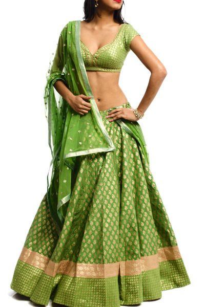 Green Chanderi Kanthawork lehenga