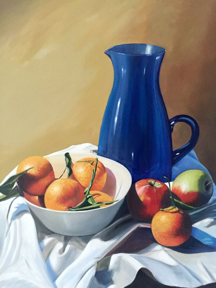 Large Blue Jug Emerboweart.  Buy it now on my etsy > https://www.etsy.com/ie/people/emerbowe?ref=hdr_user_menu #Painting #oiloncanvas #Art #oilpainting #oil #canvas #paint #irish #irishartist #EmerBowe #Blue #Stilllife #oranges #orange #apples #apple #cloth #still