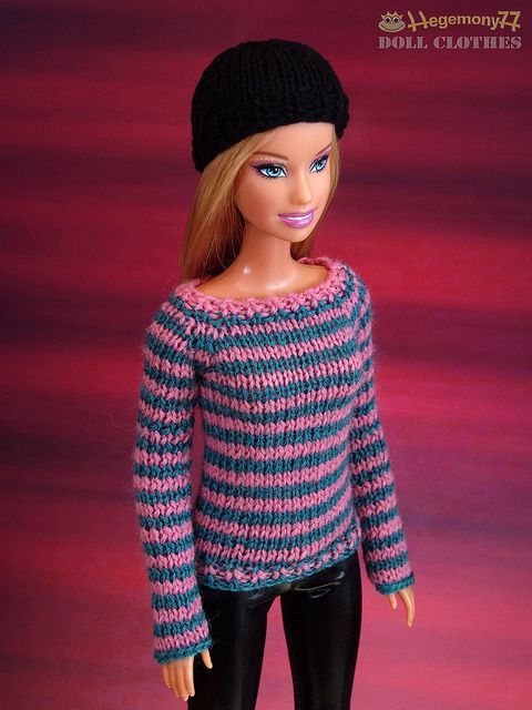 Barbie doll in hand knitted...