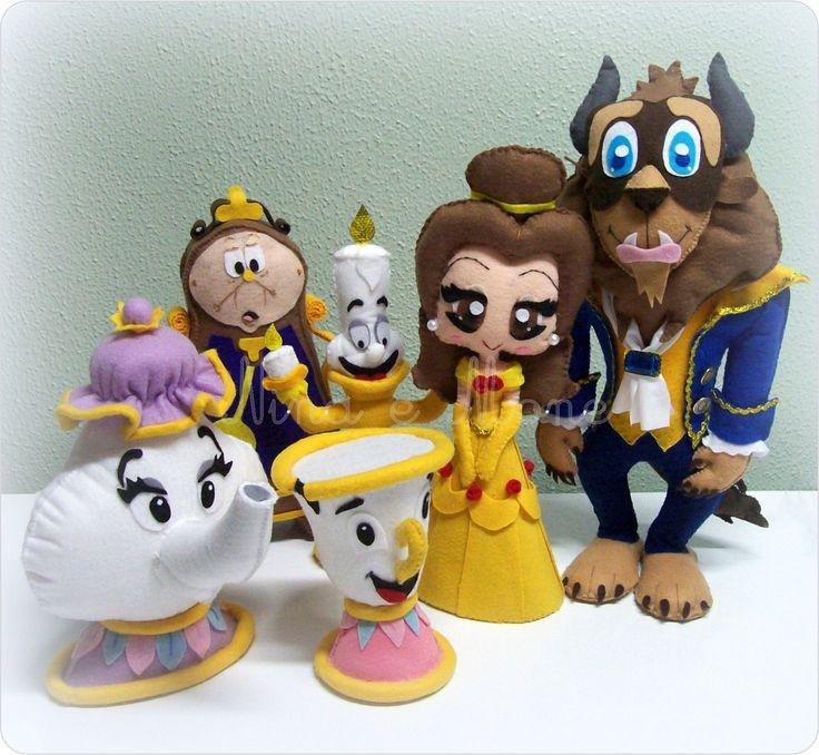 Beauty and the Beast Set by Nina E. Mone     doll, plush, felt, fabric, play, Disney, Belle, Prince Adam, Lumière, Cogsworth, Mrs. Potts, Chip