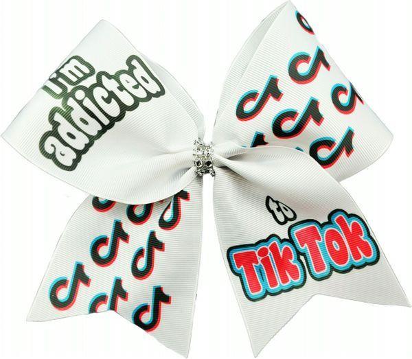 I M Addicted To Tik Tok Glitter Vinyl Cheer Bow Cheer Bows Glitter Vinyl Cute Cheer Bows