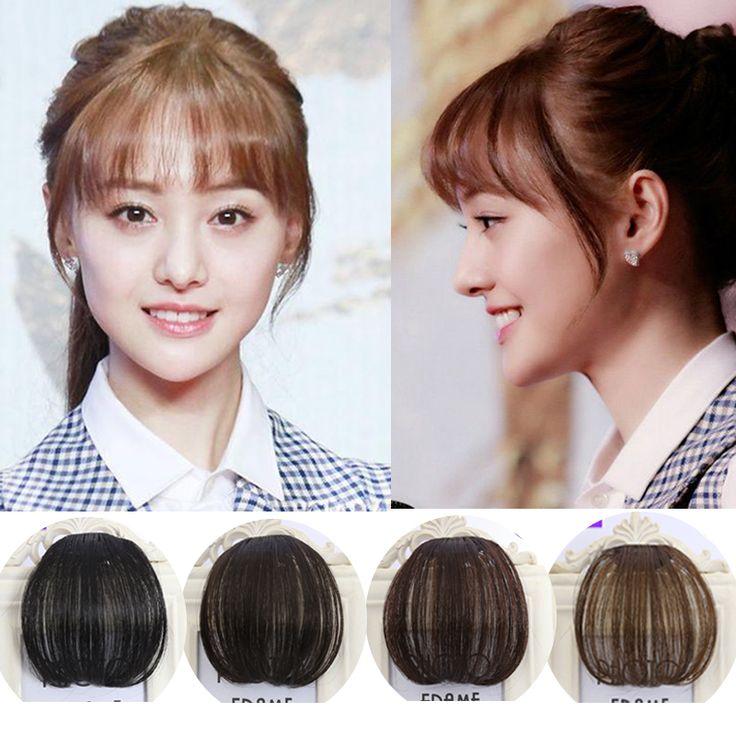 Mode 1 Clip dans Bangs femmes Extension de Cheveux Postiches Avant Neat Fringe Extensions de Cheveux Invisible Faux Cheveux Frange Postiche