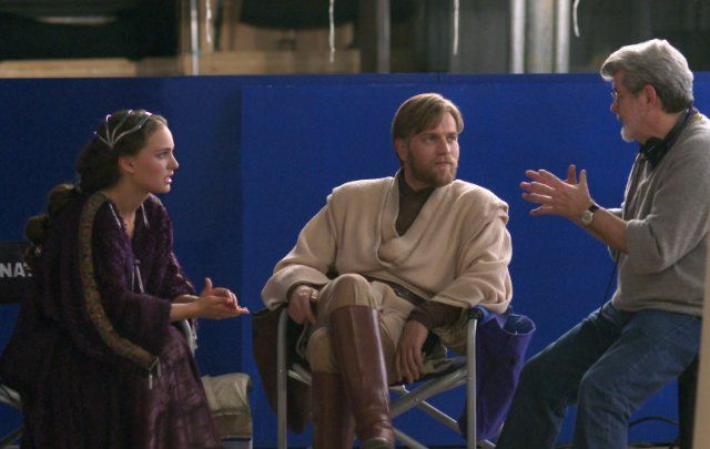 "George Lucas, Ewan McGregor and Natalie Portman in ""Star Wars Episode III Revenge of the Sith"", 2005"