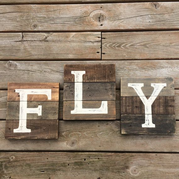 FLY Nursery sign. Airplane nursery decor.Fly reclaimed pallet wood sign 3 piece set. Military sign Air Force. Vintage airplane art.Adventure