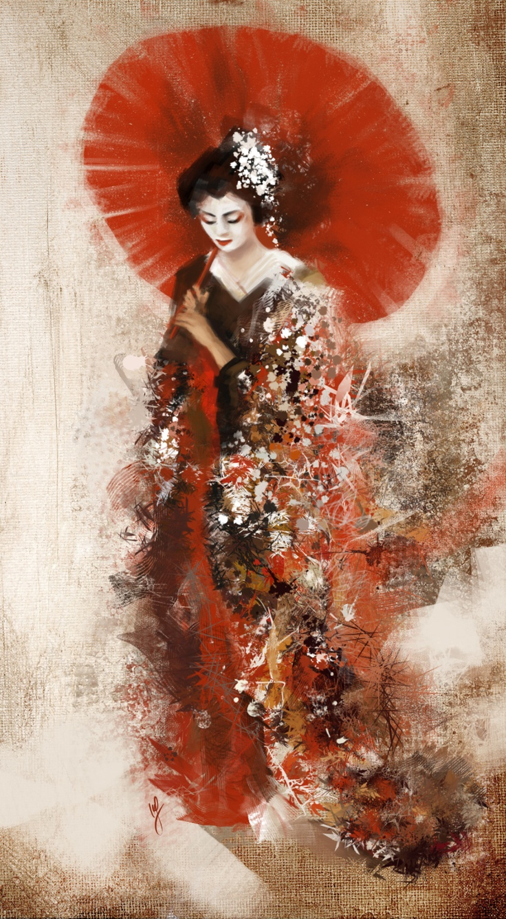 geisha japanese painting drawing chinese asian drawings paintings japan asia easy kunst smile umbrella gueixa uploaded