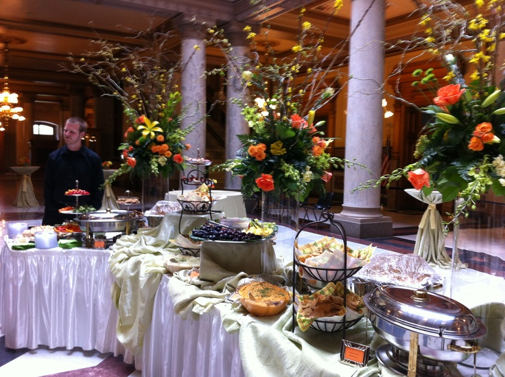 Beautiful buffet for a spring wedding at the Indiana State House signatureeventsbybarbie.cin