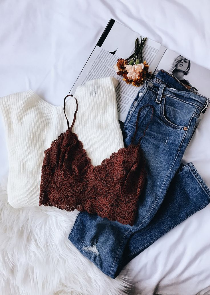 Romantic Touch Light Brown Lace Bralette