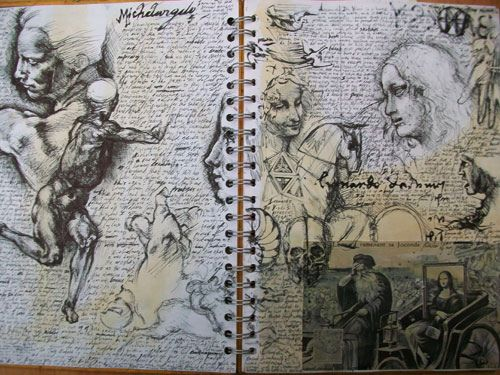 "Jay Carpenter - Sketchbook Page- Research On The Renaissance For ""Mona Lisa Apple"""