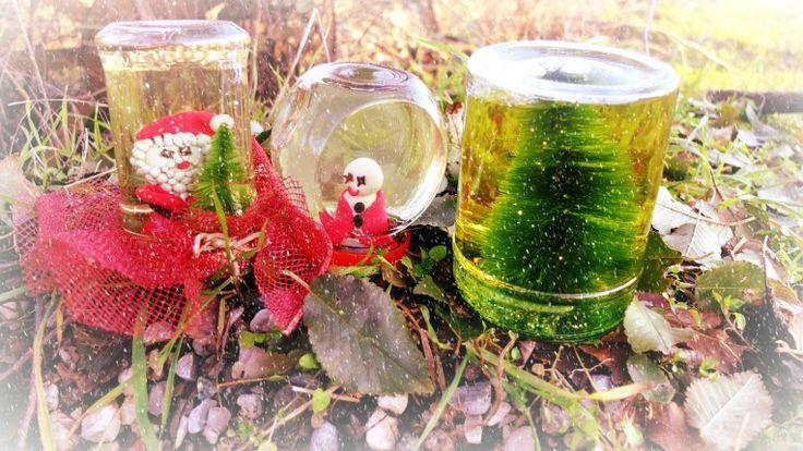 Snow globe with glitter and sequins... my firt DIY on www.unadonna.it: http://www.unadonna.it/natale/palla-di-natale-con-glitter-fai-da-te/70970/
