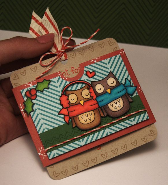 Winter Owl Slider card - 2 by yainea, via Flickr
