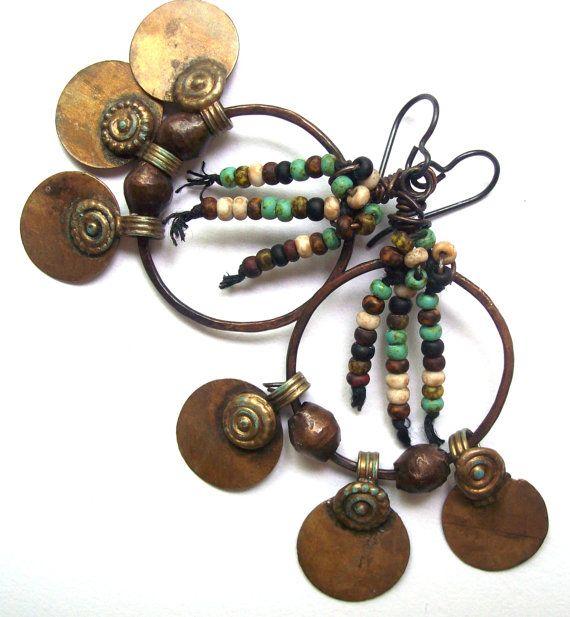 Rustic Tribal Earrings, Bohemian Jewelry, Copper Hoop Ethnic Earrings, Hippie Gypsy, Earthy Boho Jewelry, Hand Forged Niobium Earrings -- 2 3/4
