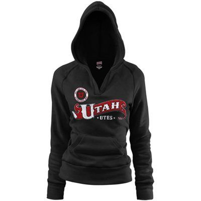 Utah Utes Ladies Black Rugby Distressed Deep V-neck Hoodie Sweatshirt