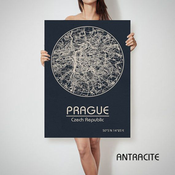 Prag-Tschechische Republik-Karte City Street Karte von ArchTravel