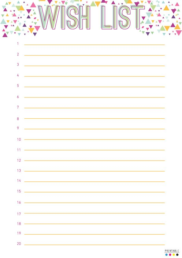 free wish list printable filofax pinterest birthdays