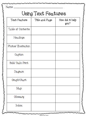 Elementary Antics: Using Non-fiction Text Features Chart