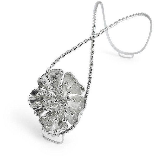 Arabel Lebrusan Silver Juileta Floral Bridal Bun Clip ($165) ❤ liked on Polyvore featuring jewelry, silver jewelry, flower jewellery, bridal jewelry, silver bridal jewelry and floral jewelry