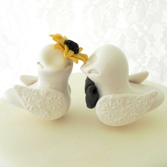 Love Birds Wedding Cake Topper Ivory and Yellow Birds by LavaGifts, $62.00