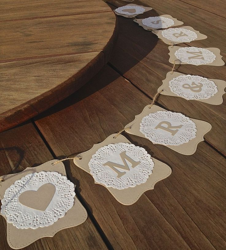 MR MRS Wedding Banner Doilies Decoration Rustic Bunting Flags Garland Sign | eBay