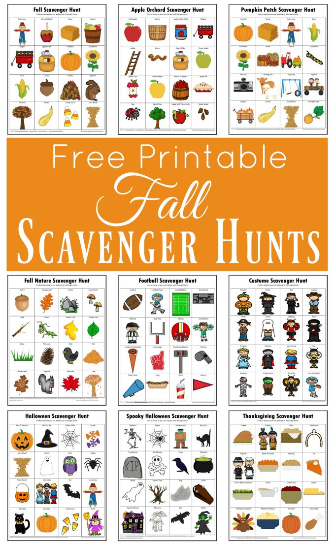 These free printable fall scavenger hunts are great way to get kids engaged in an activity and exploring the world around them while having fun. Thesmes include: fall, apple orchard, pumpkin patch, nature, football, halloween costume, halloween, spooky halloween, thanksgiving