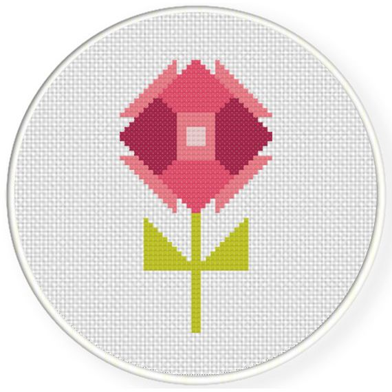 Charts Club Members Only: Polygon Flower Cross Stitch Pattern