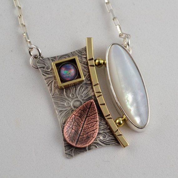 Gorgeous, Deborah is so talented!! Mother of Pearl Pendant Metalsmith Necklace by DeborahCloseDesigns, $140.00