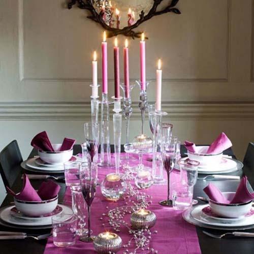 Purple Christmas Dining Table Decorating Ideas