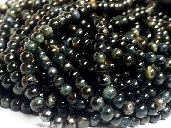 5 Strands WHOLESALE Black Tigers Eye Beads Black by gemsforjewels