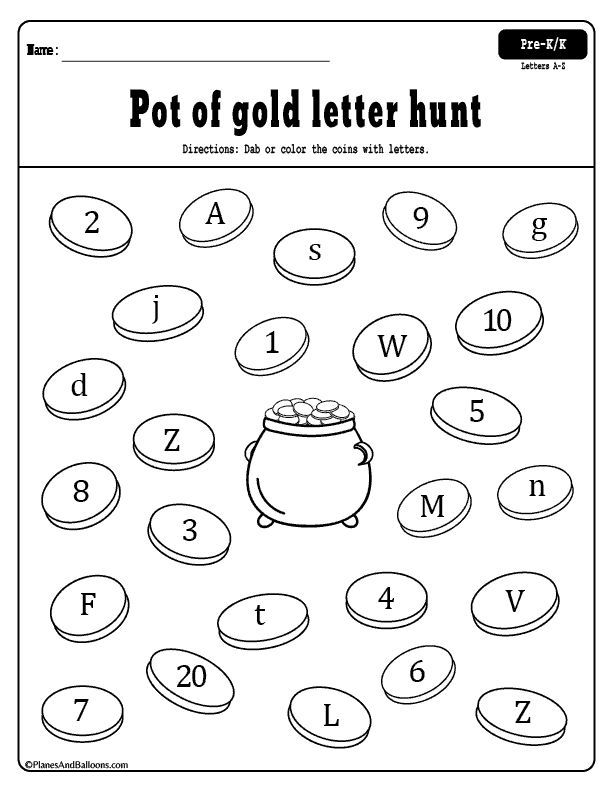 St Patrick S Day Letter And Number Recognition Activities Number Recognition Activities St Patrick Day Activities Free Preschool Printables Free kindergarten letter recognition
