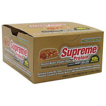 Supreme Protein Peanut Butter Pretzel Twist Quadruple Layer Protein Bars, 1.75 oz, 9 count