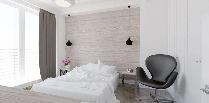 Elegancka sypialnia. Minimalistyczne wnętrze z subtelnymi klasycznymi akcentami. Jasne wnętrza. Drewniana podłoga.  Więcej na: http://tryc.pl/