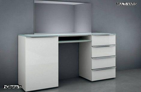 HULSTA MULT-VARIS kaptafel of commode kleur : wit laque Spiegel Bovenblad glaskleur: wit Maat : 160 breed   HULSTA slaapkamers en slaapcomfort bij: www.theobot.nl