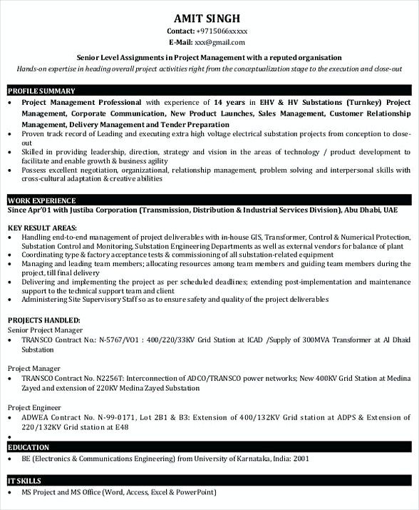Project Manager Resume Sample , Bank Branch Manager Resume , This - it project manager resume sample