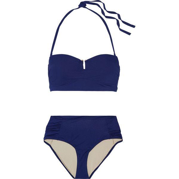 Tart Collections - Aphrodite Halterneck Bikini (€53) ❤ liked on Polyvore featuring swimwear, bikinis, navy, mini bikini, stripe bikini, neck-tie, ruched high waisted bikini and navy striped bikini