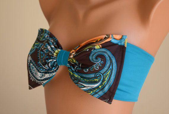 PADDED ..THINER BACK..Paisley print bow swimsuit bandeau bikini top bandeau bikini with pads bow bikini top women's fashion