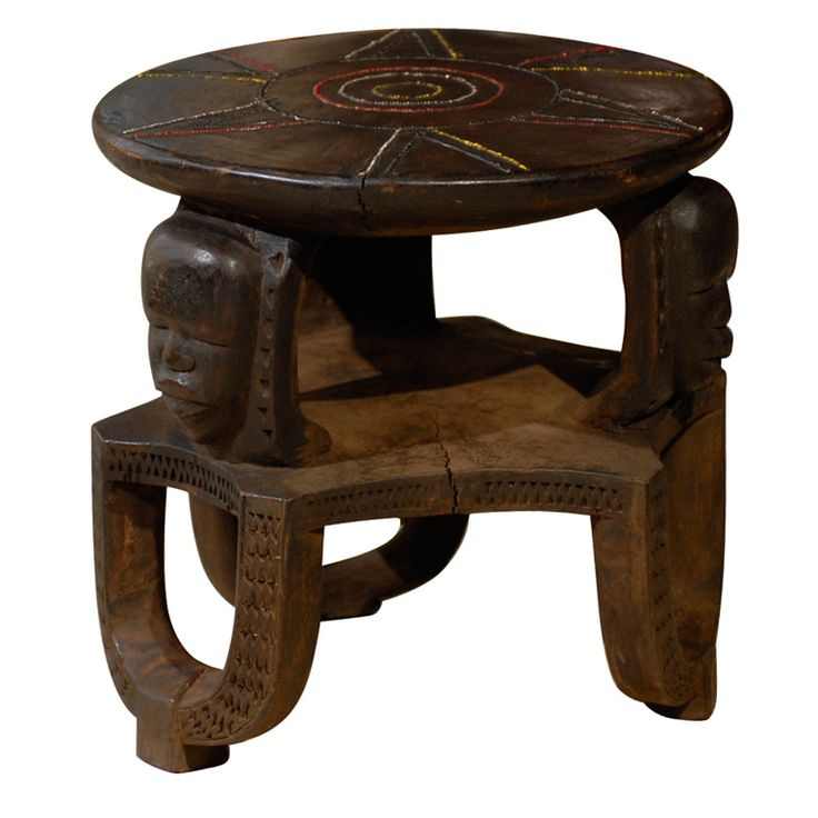 African Stool, 3 Faces with Star Beading | From a unique collection of antique and modern tribal art at http://www.1stdibs.com/furniture/more-furniture-collectibles/tribal-art/
