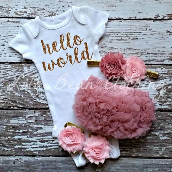 ***Please leave date needed by in Notes to seller during checkout!***  The onesie used is NB Carters Brand  Baby Pink & Dusty Rose & Gold