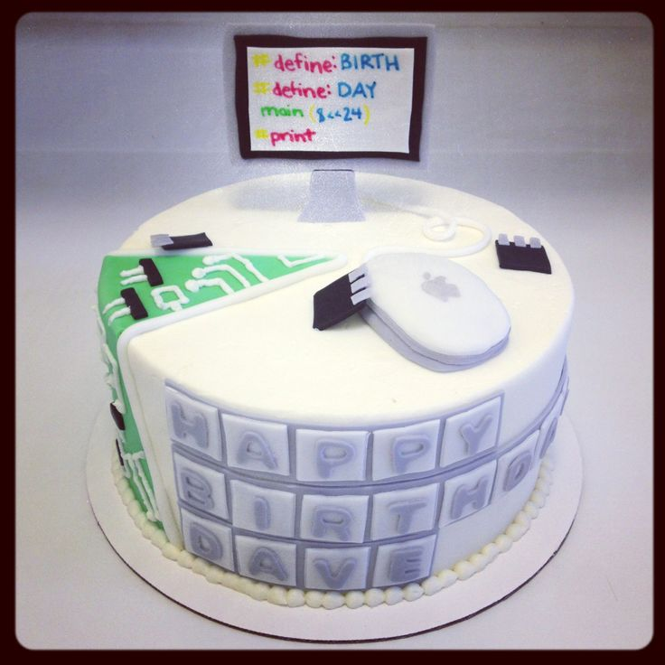 Apple computer birthday cake with circuit board cutaway section - Sweets by Millie